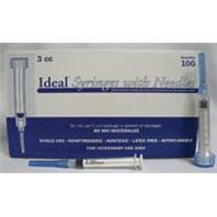 Ideal Instruments - Disposble Luer Lock Syringe with Needle - 100 per Box - 3 ml