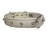 "Angel Pet Supplies - Athens Leather Rhinestone Bling Dog Collar - Ivory White - 22"" X 1"""