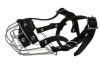 """Angel Pet Supplies - B1 Miami Wire Cage & Leather Muzzle - Black - 11.5"""" circumference, 2.5"""" length"""