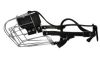 """Angel Pet Supplies - 10 Miami Wire Cage & Leather Muzzle - Black - 15.5"""" circumference, 5"""" length"""