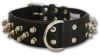"Angel Pet Supplies - Amsterdam Leather Spiked Multi-Line Dog Collar - Midnight Black - 22"" X 1.5"""