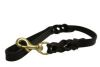 Angel Pet Supplies - Braided Leather Leash - Black - 2' X 3/4""