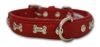 """Angel Pet Supplies - Rotterdam Leather """"Bones"""" Dog Collar - Valentine Red - 14"""" X 3/4"""""""