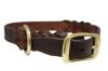 "Angel Pet Supplies - Braided  Leather  Dog Collar - Brown - 22"" X 1"""