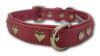 "Angel Pet Supplies - Rotterdam Leather ""Hearts"" Dog Collar - Bubblegum Pink - 16"" X 3/4"""