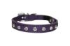 "Angel Pet Supplies - Athens Leather Rhinestone Bling Elastic Break-Away Cat Collar - Orchid Purple - 12"" X1/2"""