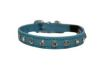 "Angel Pet Supplies - Athens Leather Rhinestone Bling Elastic Break-Away Cat Collar - Baby Blue - 12"" X1/2"""