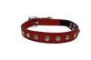 "Angel Pet Supplies - Athens Leather Rhinestone Bling Elastic Break-Away Cat Collar - Valentine Red - 10"" X1/2"""