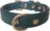 "Angel Pet Supplies - Alpine Leather Padded Dog Collar - Ocean Blue - 14"" X 3/4"""
