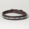 "Hound?s Best - Medium Beaded Rhinestone Leather Dog Collar ""Papillon"""