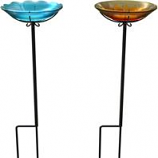 Panacea Products - Flower Glass Birdbath With Stake - Sun / Wild Flower - 10 Inch