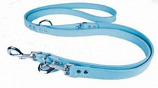"Leather Brothers - 3/4"" Signature Signature European Leather Lead - Baby Blue - 6 Feet"