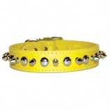 """Leather Brothers - 1"""" Regular Leather Spike & Stud - Yellow - 26"""" Length"""