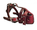 """Leather Brothers - 3/4"""" No-Bite Leather Muzzle- Burgundy - Large - 11""""-12 1/2"""" Length"""