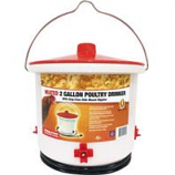 Farm Innovators - Poultry Drinker Heated with Side-Mount Nipples - White - 2 Gallon