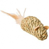 Ethical Cat - Seagrass Mouse W/Feathers Cat Toy - Assorted -3.5 In