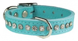"""Leather Brothers - 1/2"""" Regular Leather Jewel Collar CTR D - Baby Blue - 16"""" Length"""