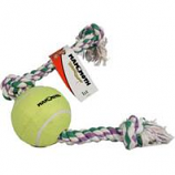 Mammoth Pet Products - Flossy Chews Rope Tug With Big 6 Inch Tennis Ball - Multicolored - 36 Inch / Xlarge