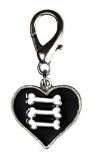 Leather Brothers - Enamel Bone Heart pendent - Black