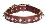 """Leather Brothers - 1"""" Regular 1-Ply  Latigo Spike and Stud Collar -Burgundy - 24"""" Length"""