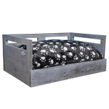 Sassy Paws Wooden Pet Bed with Paw Printed Comfy Cushion - Antique Gray - Large