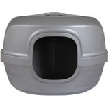 Petmate - Petmate Hooded Corner Litter Pan - Silver - Large