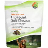 Tevra Brands - Triple Action Hip+Joint Soft Chews For Dogs - Chicken - 60 Pc