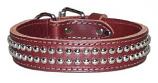 """Leather Brothers - 1.25"""" Latigo Tapered 2-Row Dome Studded  Collar - Burgundy - 19"""" Length"""