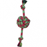 Mammoth Pet Products - Extra Fresh Monkey Fist Ball With Rope Ends - Green / White - 18 Inch