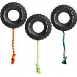 Ethical Dog - Pup Treads Rubber Tire with Rope - Black - 4 Inch