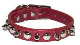 """Leather Brothers - 3/4"""" Regular Leather Spike & Stud - Red - 20"""" Length"""