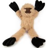 Quaker Pet Group -Godog Crazy Tugs Sloth Plush Squeaker Dog Toy - Tan - Small