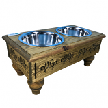 Sassy Paws Raised Wooden Pet Double Diner with Stainless Steel Bowls - Rustic Brown - Medium