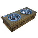 Sassy Paws Wooden Pet Double Diner with Stainless Steel Bowls - Rustic Brown - Small