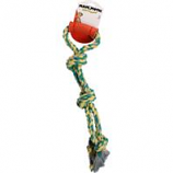 Mammoth Pet Products - Flossy Chews Twin Tug With Rubber Handle Dog Toy - Multicolored - 20 Inch / Medium