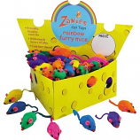 Zanies - Cheese Wedge Cat Toy Display - 60 Rainbow Mice