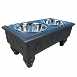 Sassy Paws Raised Wooden Pet Double Diner with Stainless Steel Bowls - Black - Large