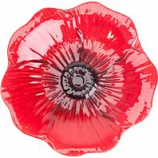 Panacea Products - Red Poppy Glass Bird Bath With Stand - Red Poppy  - 16 Inch