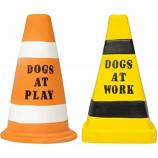Multipet International - Barking Lot Cones Dog Toy Asst - Orange/Yellow - 7 Inch