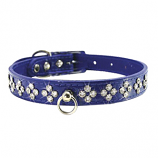 """Leather Brothers - 1"""" Patent Leather Crystal - Blue - 24"""" Length"""