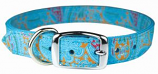 """Leather Brothers - 1"""" Regular Paisley Leather Collar - Turquoise - 22"""" Length"""