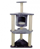 Iconic Pet - Three-Tier Deluxe Cat Tree Condo Furniture with Sisal Ropes and Multiple Posts