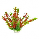 Aquatop Aquatic Supplies  - Aquarium Plant With Weighted Base - 9 Inch - Green/Red