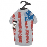 Zack & Zoey - Americas Pup Flag Print Tee - Small - Silver