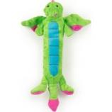 Quaker Pet Group -Godog Dragons Skinny Durable Plush Squeak Dog Toy - Green - Small