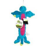 Quaker Pet Group -Godog Dragon Skinny Durable Plush Dog Toy - Blue - Small