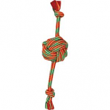 Mammoth Pet Products - Extra Fresh Monkey Fist Ball With Rope Ends - Green / White - 13 Inch