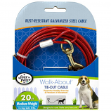 Four Paws -Dog Tie Out Cable - Medium Weight - Red - 20 Feet