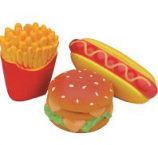 Coastal Pet Products -Lil Pals Latex Hamburger Fries & Hot Dog Toy Set - Multi - 4 Inch