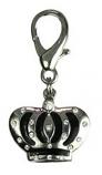 Leather Brothers - Enamel & Stones Crown Pendant - Black
